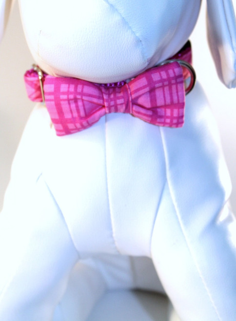 Dog Bow Tie Accessory in Pink Plaid