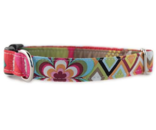 Rainbow Flower Mosaic Dog Collar