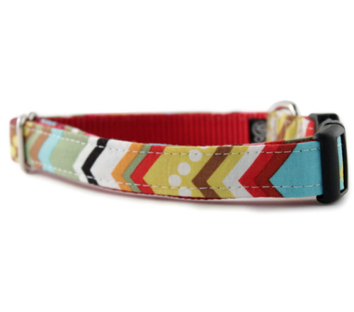 Rainbow Chevron Dog Collar