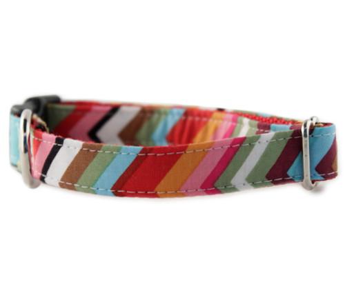 Rainbow Chevron Dog Collar