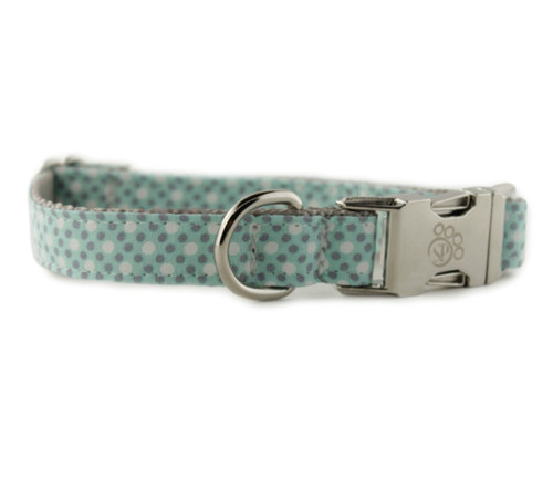 Mint Tiny Dot Dog Collar