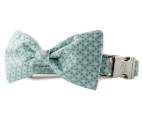 Mint Tiny Dot Bow Tie Dog Collar