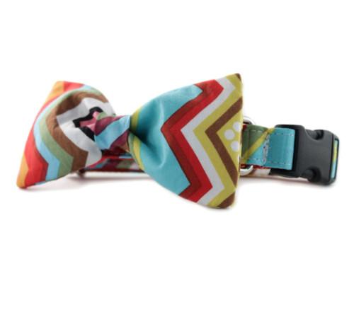 Rainbow Chevron Bow Tie Dog Collar