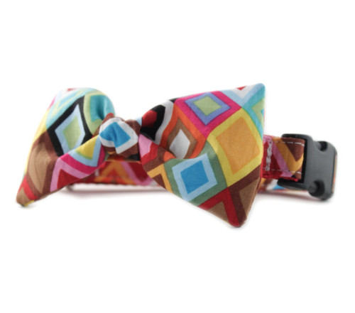 Rainbow Mosaic Bow Tie Dog Collar