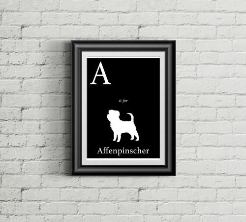 A is for Affenpinscher Alphabet Art Print