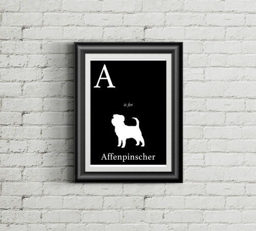 A is for Affenpinscher Alphabet Art Print