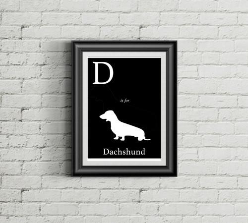 D is for Dachschund Alphabet Art Print
