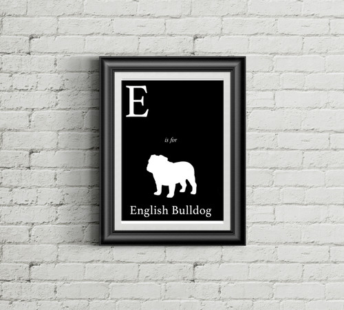 E is for English Bulldog Alphabet Art Print