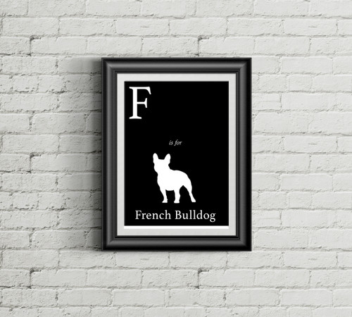 F is for French Bulldog Alphabet Art Print