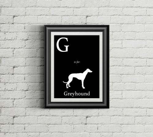 G is for Greyhound Alphabet Art Print
