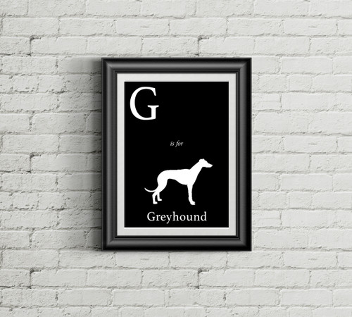 G is for Greyhound Alphabet Art Print
