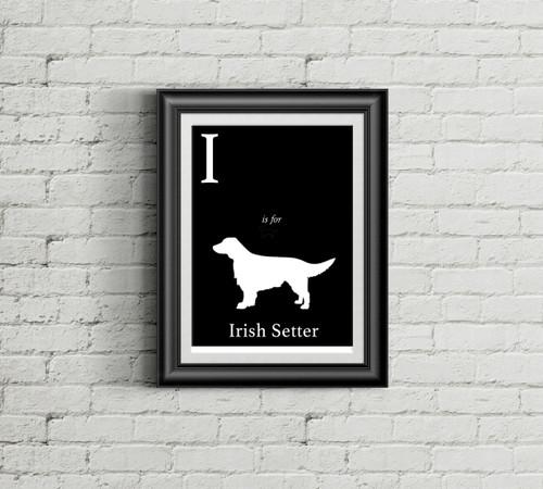 I is for Irish Setter Alphabet Art Print