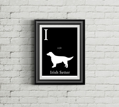 I is for Irish Setter Alphabet Art Print