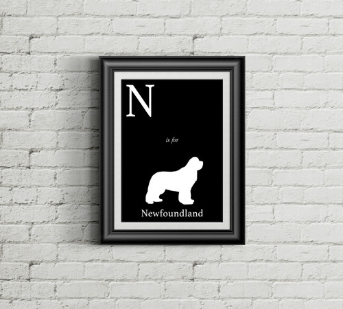 N is for Newfoundland Alphabet Art Print