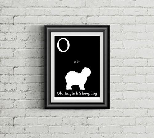O is for Old English Sheepdog Alphabet Art Print