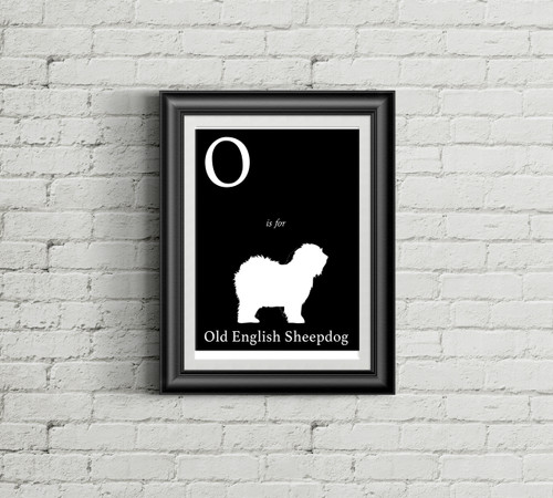 O is for Old English Sheepdog Alphabet Art Print