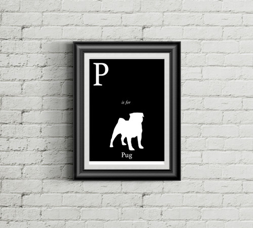 P is for Pug Alphabet Art Print