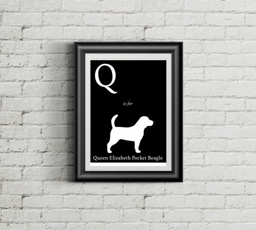 Q is for Queen Elizabeth Pocket Beagle Alphabet Art Print