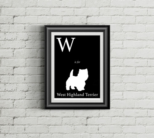 W is for West Highland Terrier Alphabet Art Print