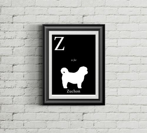 Z is for Zuchon Alphabet Art Print