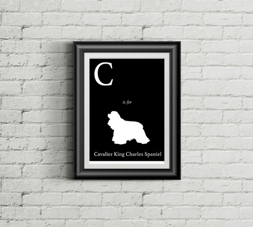 C is for Cavalier King Charles Spaniel Alphabet Art Print
