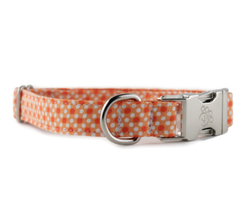 Tangerine Tiny Dot Dog Collar