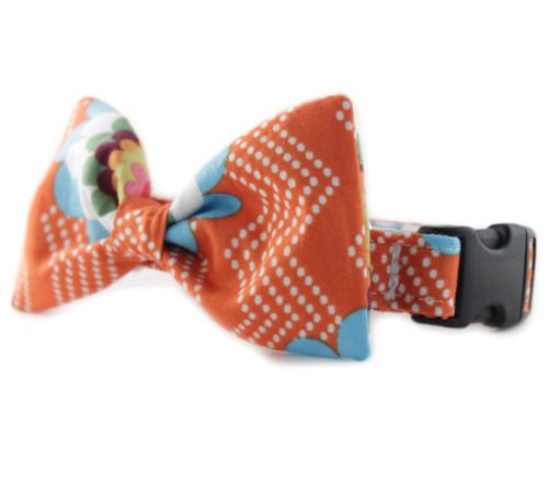 Orange Splash Bow Tie Dog Collar