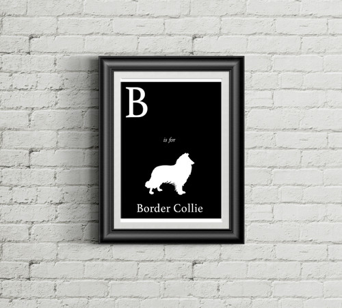 B is for Border Collie Alphabet Art Print