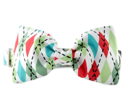 Argyle Bow Tie Dog Collar