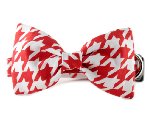 Red Houndstooth Bow Tie Dog Collar