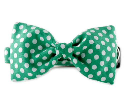 Green and White Dot Bow Tie Dog Collar