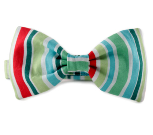 Holiday Stripe Bow Tie Dog Collar