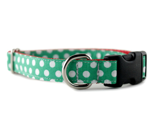 Green and White Dog Collar