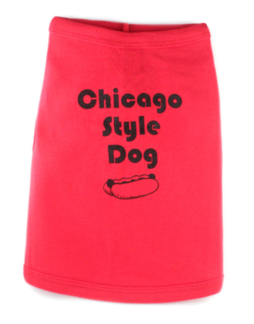 Chicago Style Dog T-Shirt Red