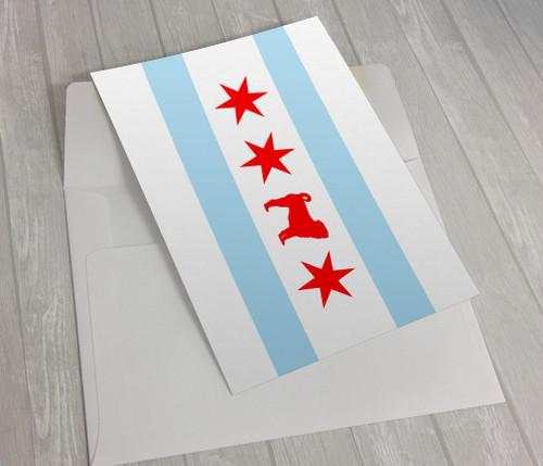 Chicago Flag Pug Greeting Card