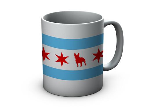 Chicago Flag French Bulldog Coffee Mug