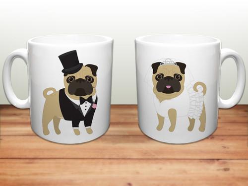 Wedding Pugs Ceramic Mugs