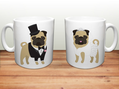 Wedding Pugs Ceramic Mugs
