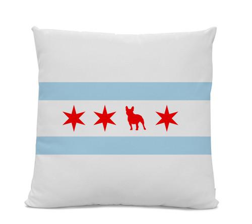 Chicago Flag French Bulldog Pillow