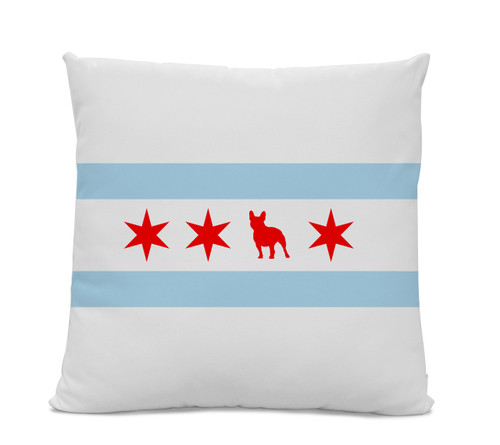 Chicago Flag French Bulldog Pillow