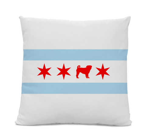 Chicago Flag Pug Pillow