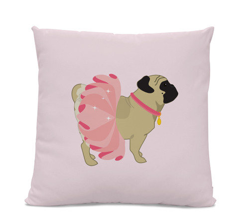 Pug in Pink Tutu Pillow
