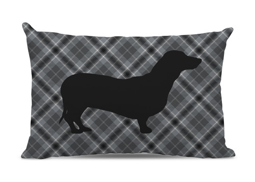 Gray Plaid Dachshund Lumbar Pillow