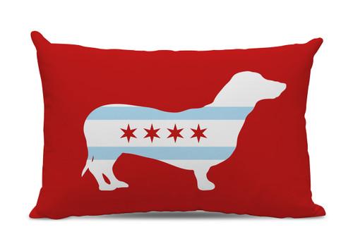 Chicago Flag Dachshund Lumbar Pillow