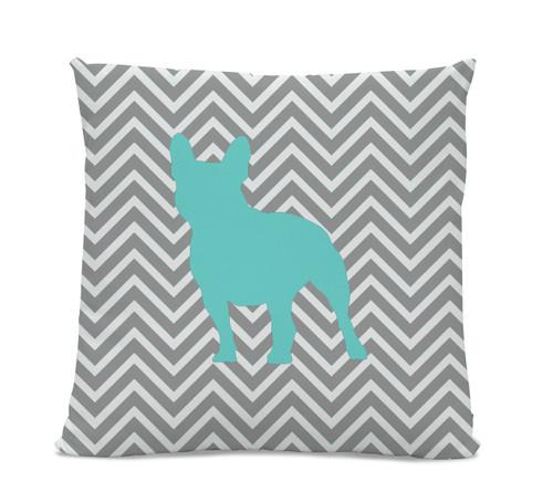 Chevron Teal French Bulldog Pillow