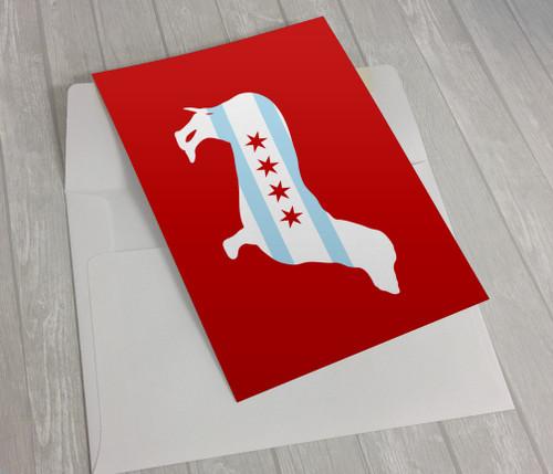 Chicago Flag Dachsund Greeting Card