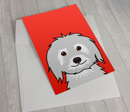 Shaggy Dog on Red Greeting Card