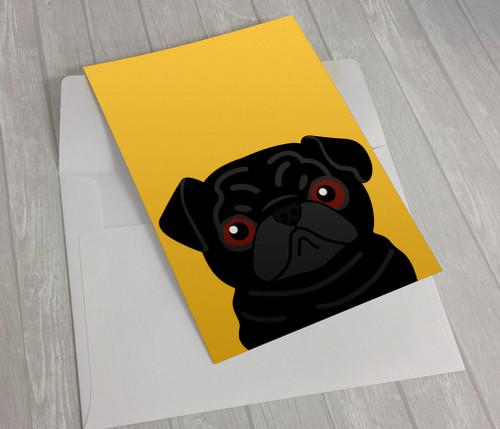 Black Pug on Yellow Greeting Card