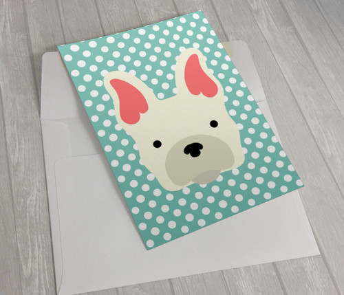 Polka Dot French Bulldog Greeting Card
