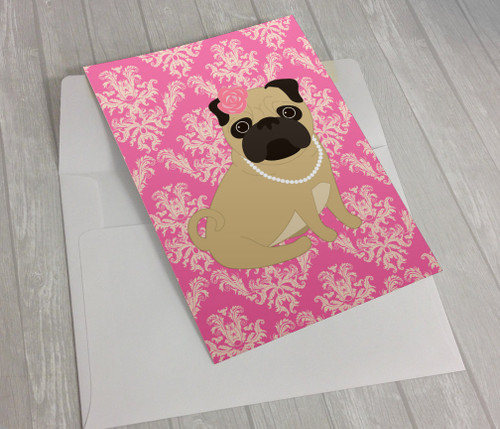 Pink Pug in Pearls Greeting Card